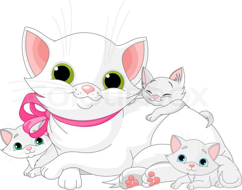Stock vektor af tegning katte kat