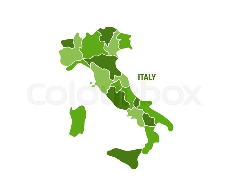 Italien Kort Med Regioner Stock Vektor Colourbox