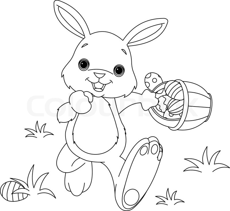 Easter Bunny Hiding Eggs Coloring Page Stock Vector Colourboxrhcolourbox: Easter Bunny And Eggs Coloring Pages At Baymontmadison.com