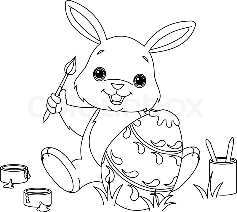 Mrs Bunny With A Basket Of Easter Eggs Coloring Page: Coloring Page Of Easter Bunny Colors ...