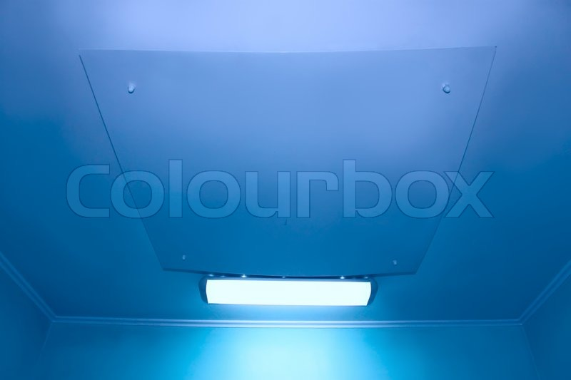 Ceiling in medical facilities. Special lighting in the surgery room, stock photo