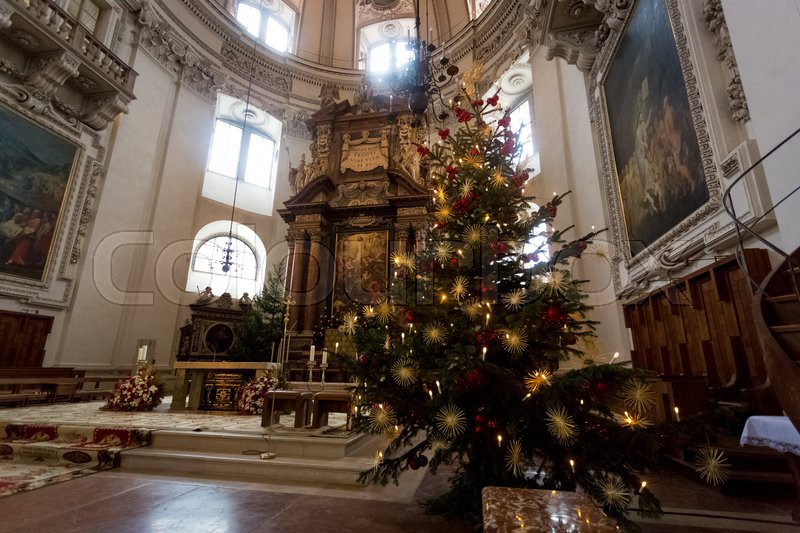 indoor shot of decorated christmas tree at big catholic cathedral at salzburg austria stock photo colourbox - Big Indoor Christmas Decorations