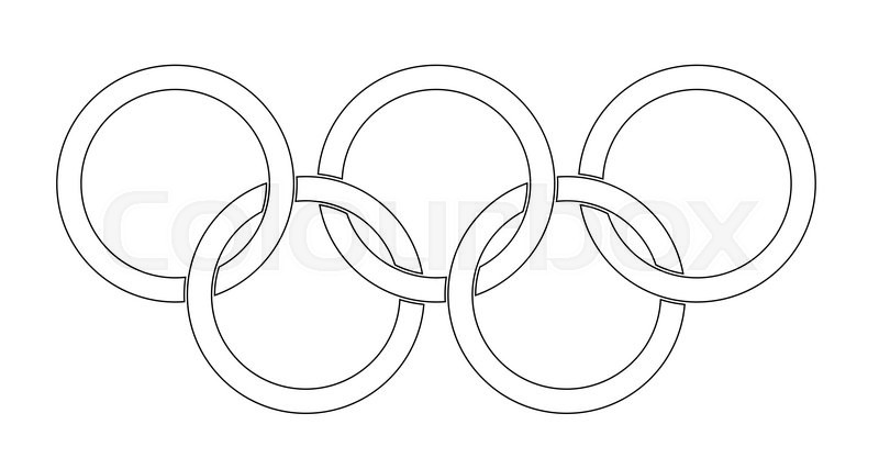 olympic style rings set over a white backrounds stock