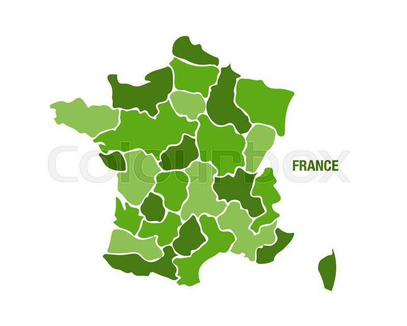 Frankrig Kort Med Regioner Stock Vektor Colourbox