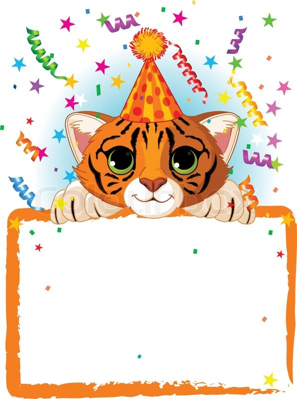 adorable baby tiger wearing a party hat looking over a blank starry