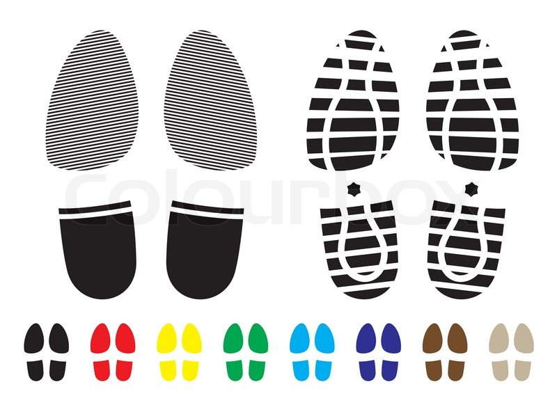 Shoe Print Pattern With Outline And Template Samples Stock Vector