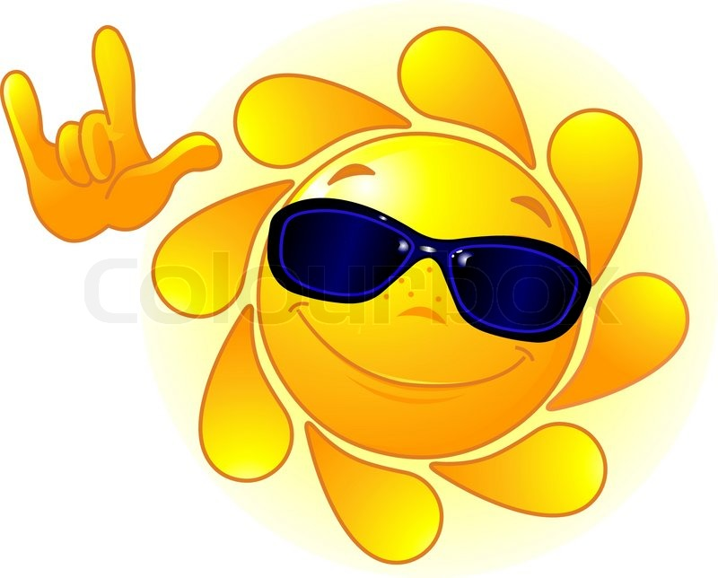 Cute And Shiny Sun With Sunglasses Showing I Love You