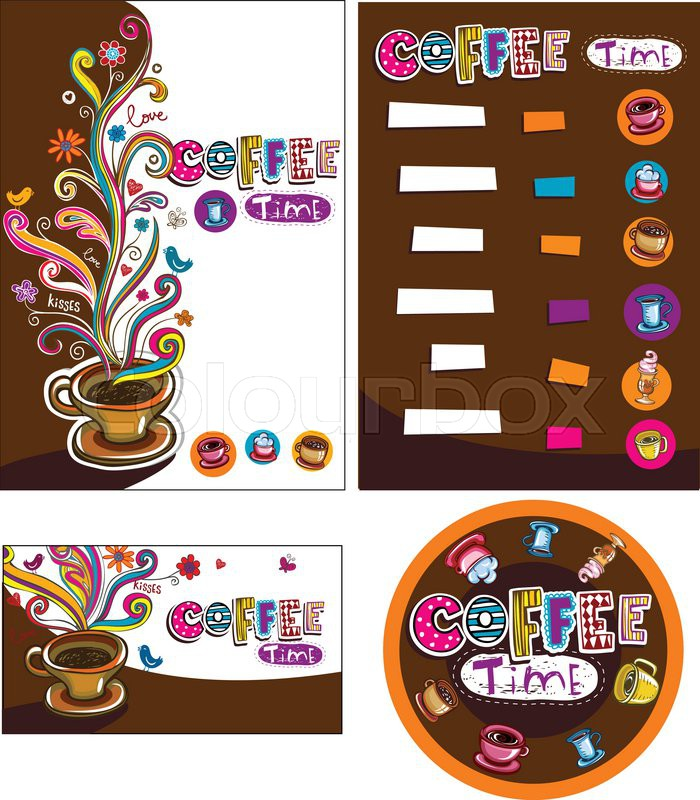 Template designs of menu and business card for coffee shop and template designs of menu and business card for coffee shop and restaurant stock vector colourbox reheart Choice Image