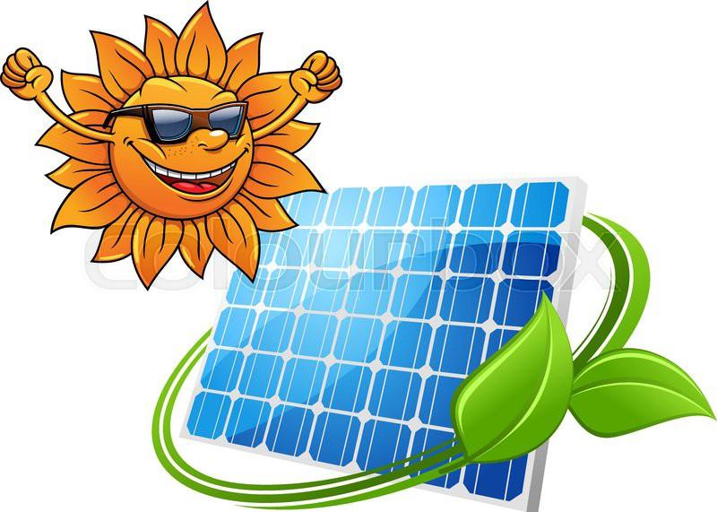 Happy Cartoon Sun With Solar Photovoltaic Panel For