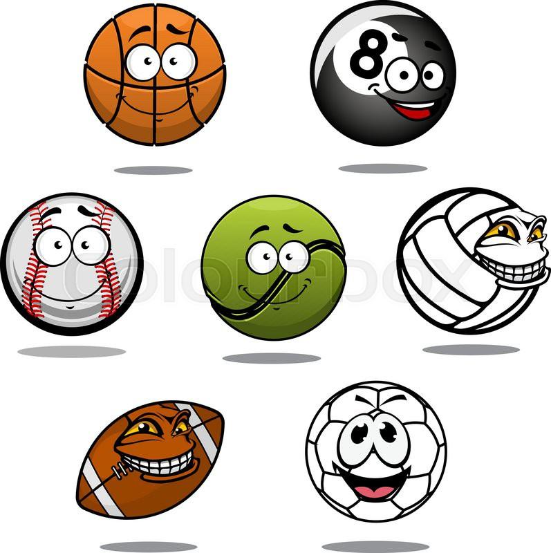 Cartoon Funny Basketball Billiard Stock Vector Colourbox