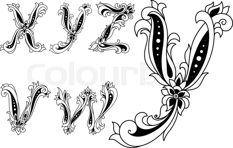 Alphabet Letters Vw Xyz In Retro Style Decorated With Flowers For Any Medieval Or Monogram Design Vector