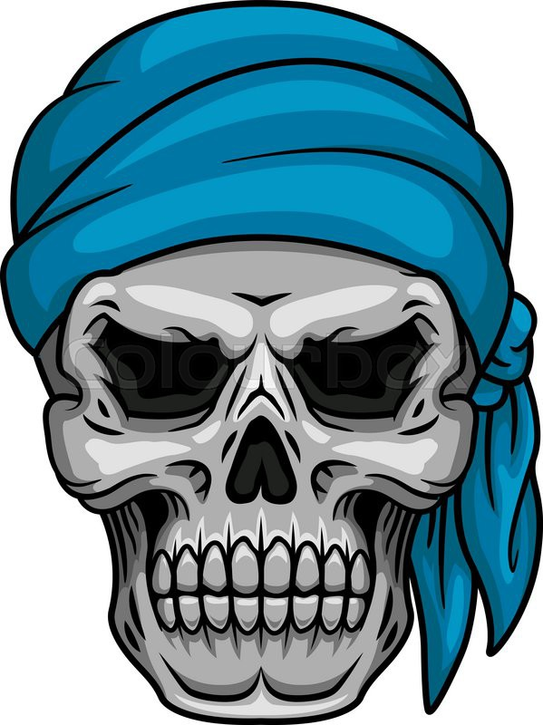 Pirate Skull In Blue Bandana For Stock Vector
