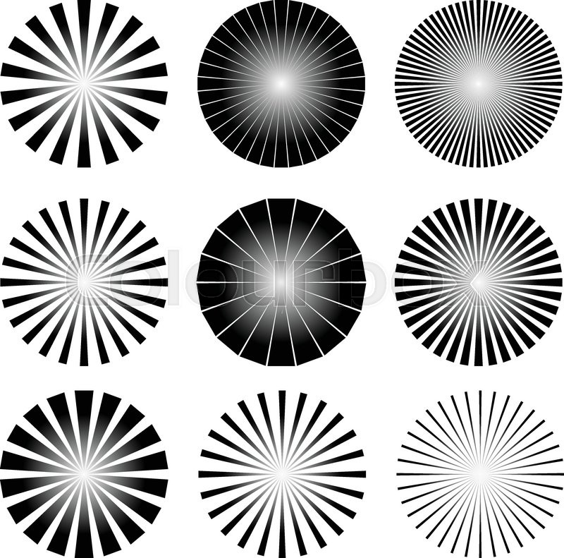 Eps 10 Vector Illustration of Radial Elements Set. Starburst or ...