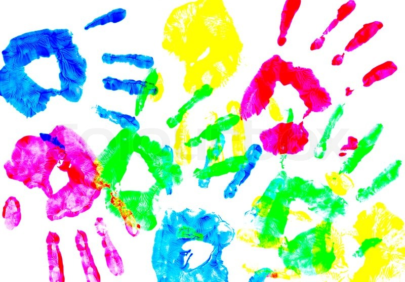 Colorful Child Hand Prints On White Stock Image