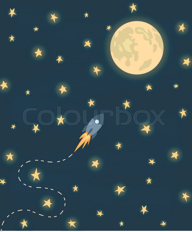 Space rocket flying to the moon. Moon and stars on dark ...