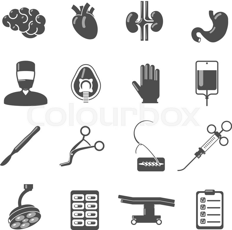 Surgery Icons Black Set With Brain Blood Stomach Scalpel
