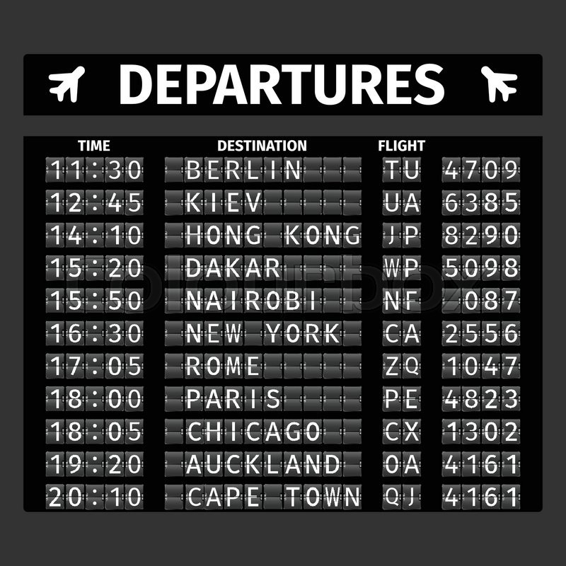 airport retro analog departure board timetable travel