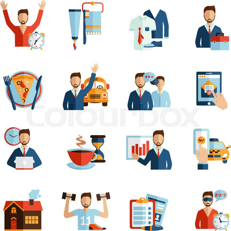 man daily routine icons set day work and rest life schedule isolated vector illustration stock People with Money Clip Art Animated Money Clip Art