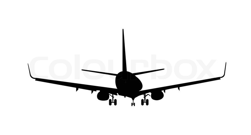 vector illustration of silhouette aircraft is isolated on