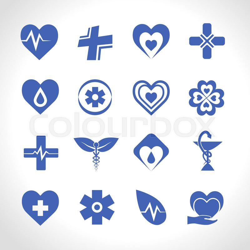 Medical Ambulance Emergency Symbols Logo Icons Blue Set Isolated