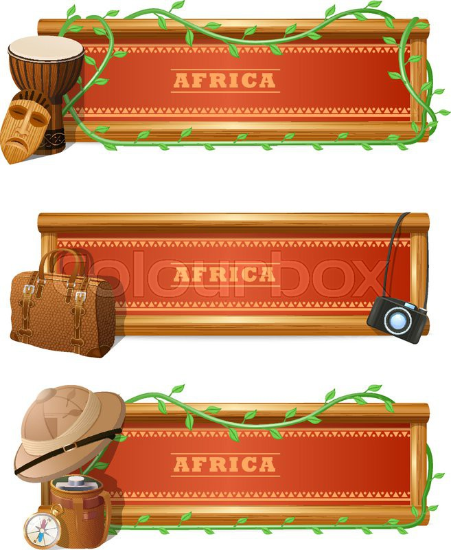african travel horizontal banner set with expedition and adventure elements isolated vector. Black Bedroom Furniture Sets. Home Design Ideas
