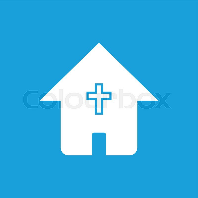 Protestant Church Web White Icon Isolated On A Blue Background