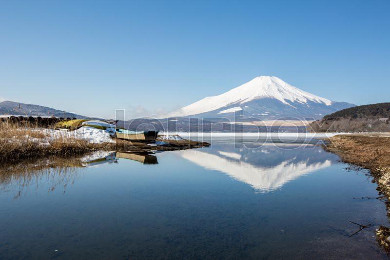 Mount Fuji at Iced Yamanaka Lake in Winter, stock photo