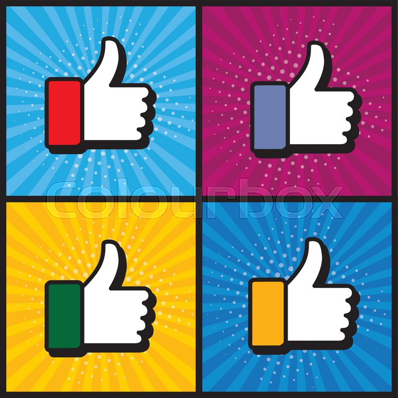 Pop Art Thumbs Up Like Hand Symbol Used In Social Media Vector