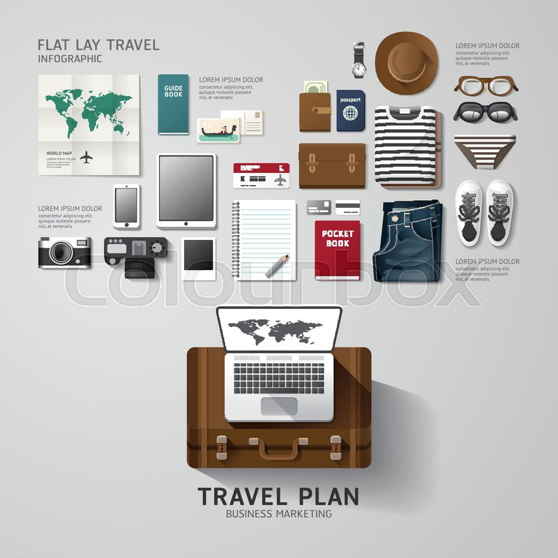 Infographic Travel Business Flat Lay Idea Vector Illustration Hipster Conceptcan Be Used For Layout Advertising And Web Design