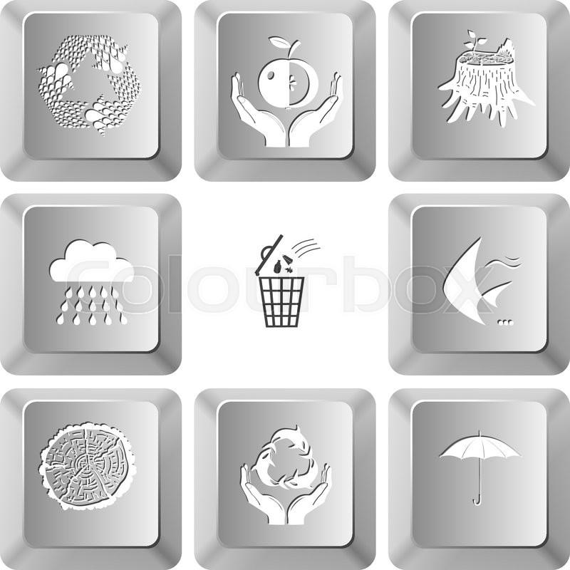 Recycle Symbol Apple In Hands Stub Rain Bin Fish Cut Of Tree