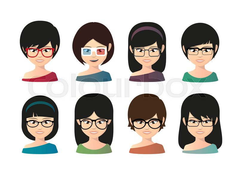 illustration of a female asian avatar wearing glasses stock vector