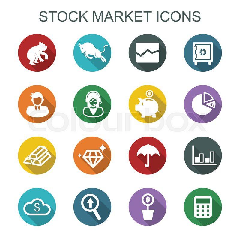 Stock Market Long Shadow Icons Flat Vector Symbols Stock Vector