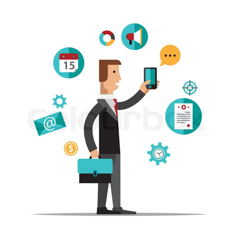 Businessman using mobile phone for business process organization, lifestyle routine and internet browsing. Isolated on white background.