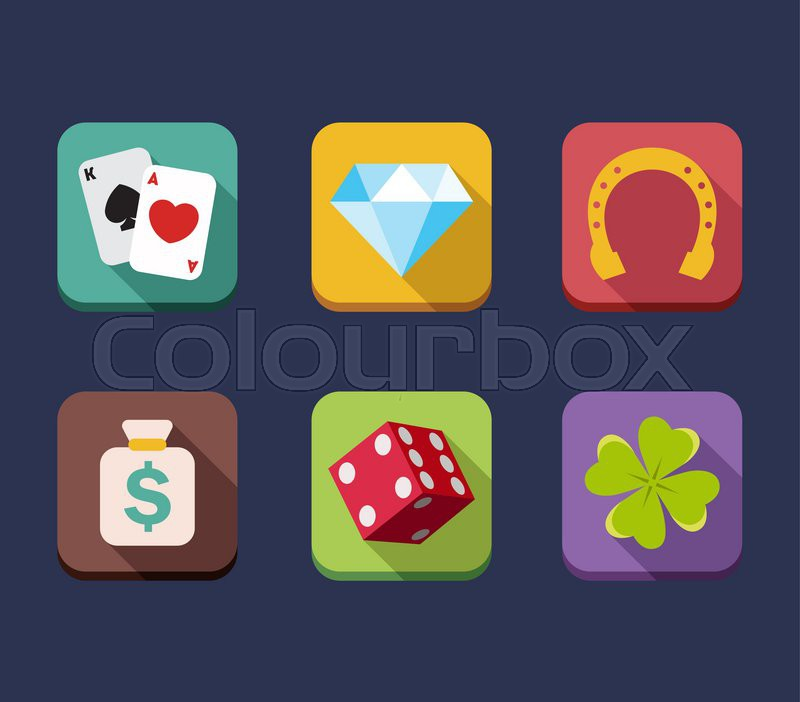 Casino game of fortune gambling, roulette, slot machine icons set isolated vector illustration - Stock Vector - Colourbox - 웹