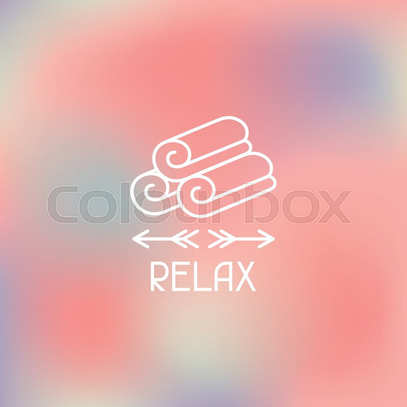 Spa relax label on abstract blurred background, vector