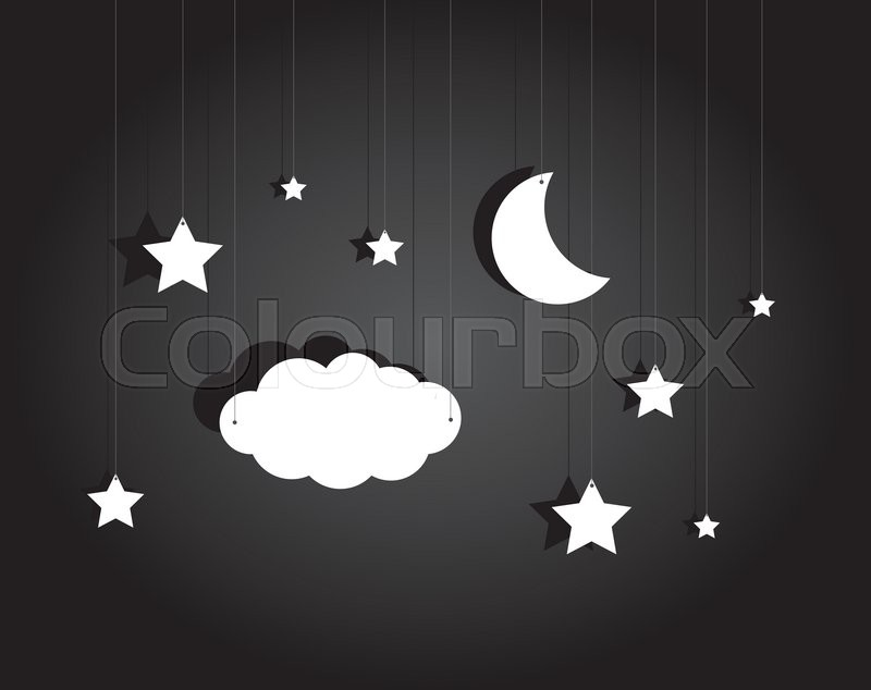 Cartoon Illustration Of Stage Hanging Sky With Moon Stars