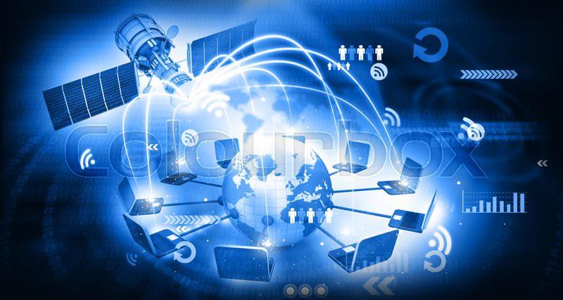 Global Satellite Telecommunication Stock Photo