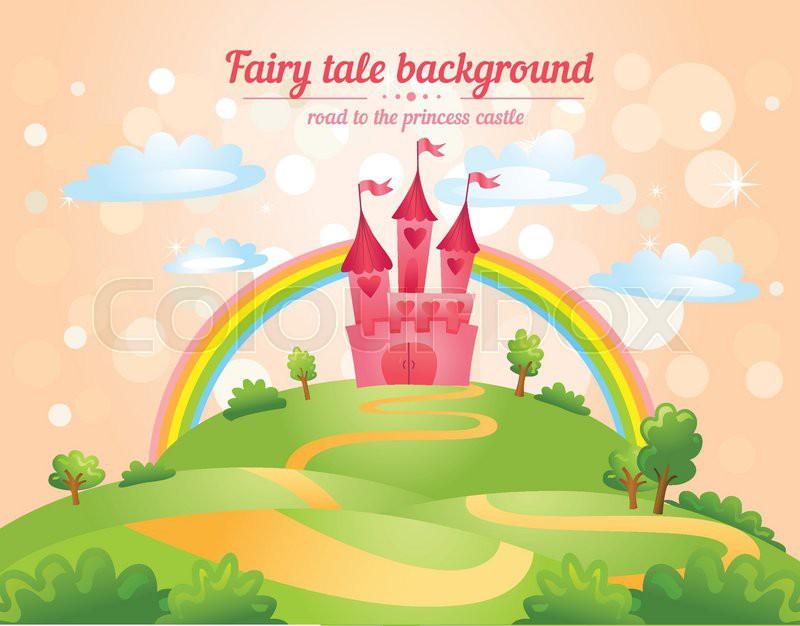 Stock vector of 'FairyTale landscape, the road leading to the castle. Vector illustration'