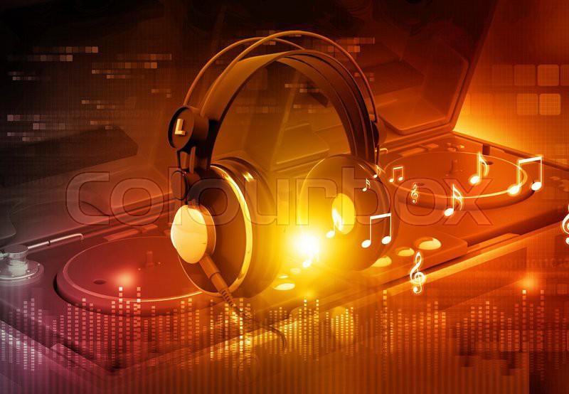 Dj mixer with headphones, Dj party background | Stock ...