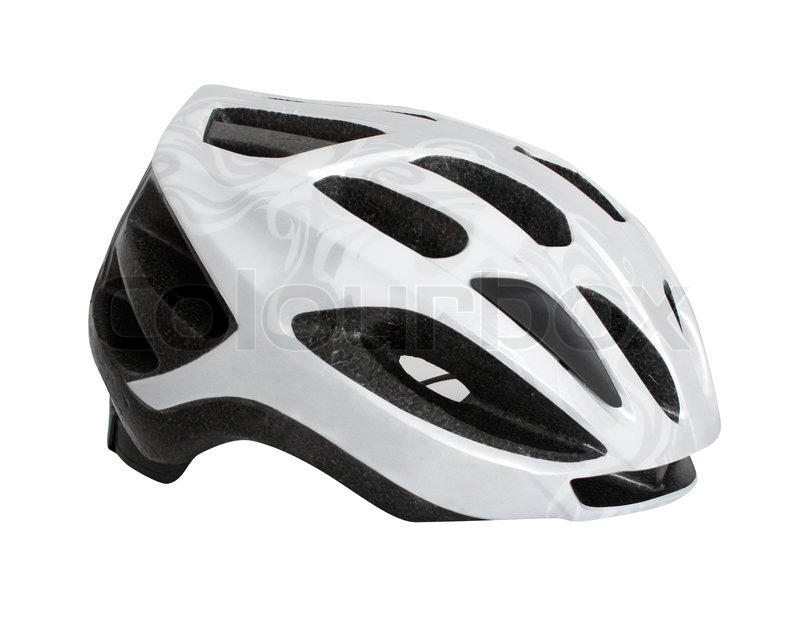 Stock image of 'A white bicycle helmet on a  white background'