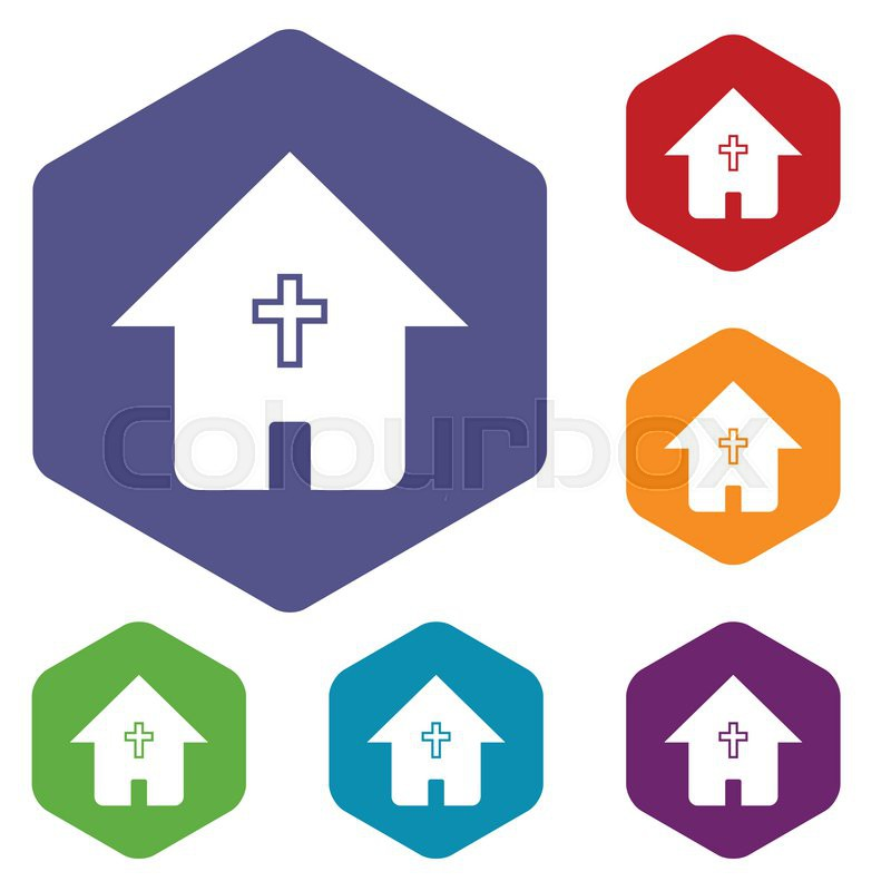 Protestant Church Rhombus Icons Set In Different Colors Vector