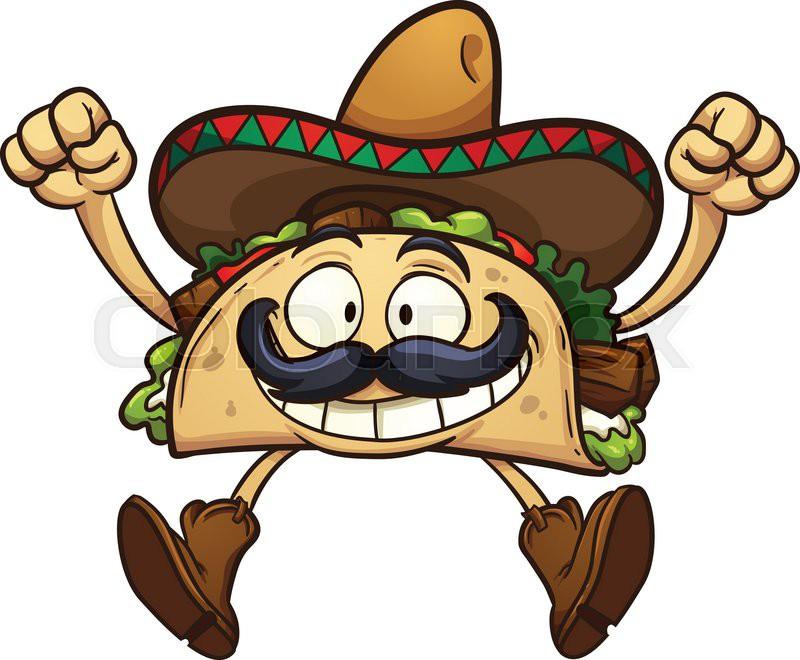 Happy Cartoon Taco With Mexican Stock Vector Colourbox