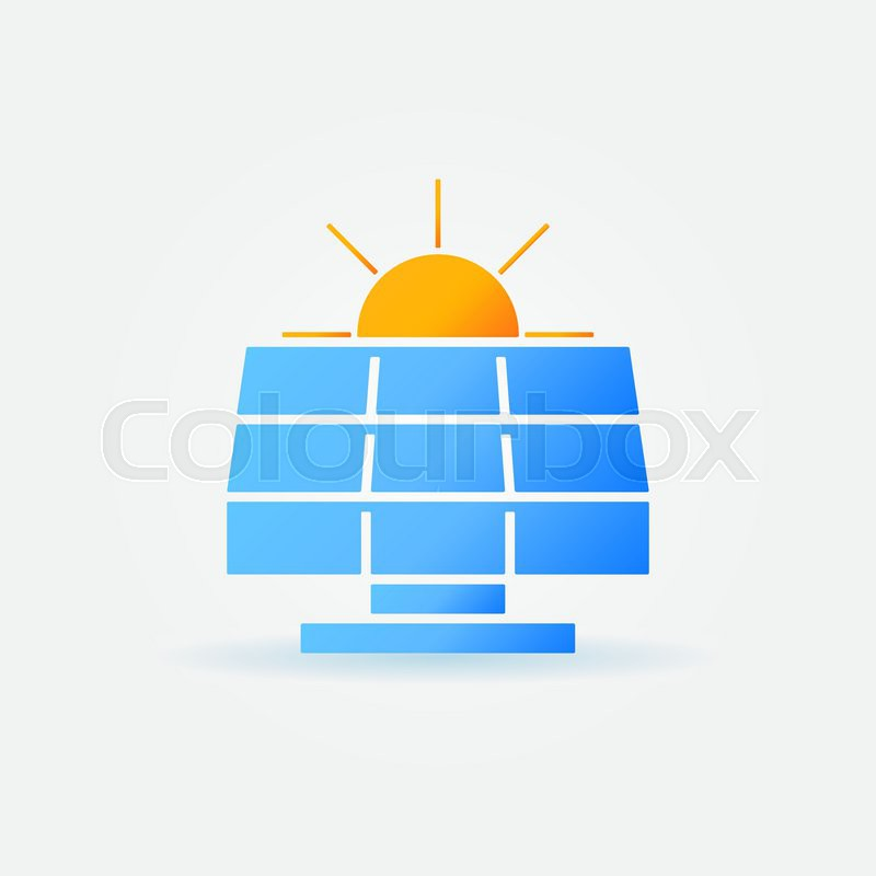 Solar Panel With Sun Icon Vector Bright Power Symbol Or