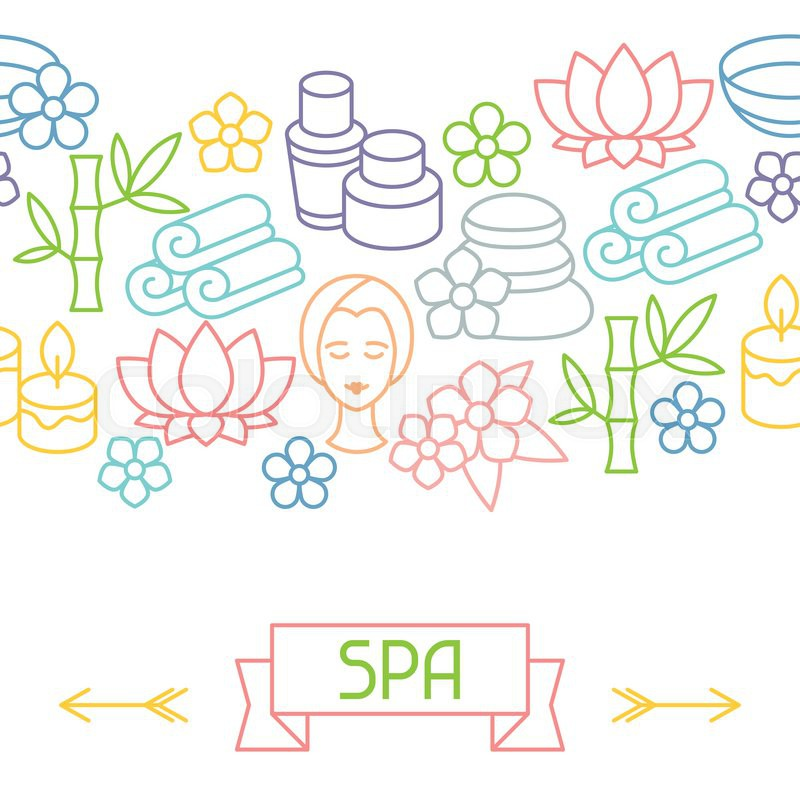 Spa and recreation seamless pattern with icons in linear style, vector
