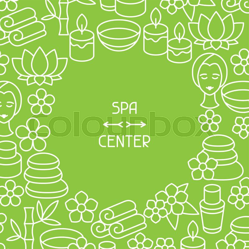 Spa and recreation background with icons in linear style, vector