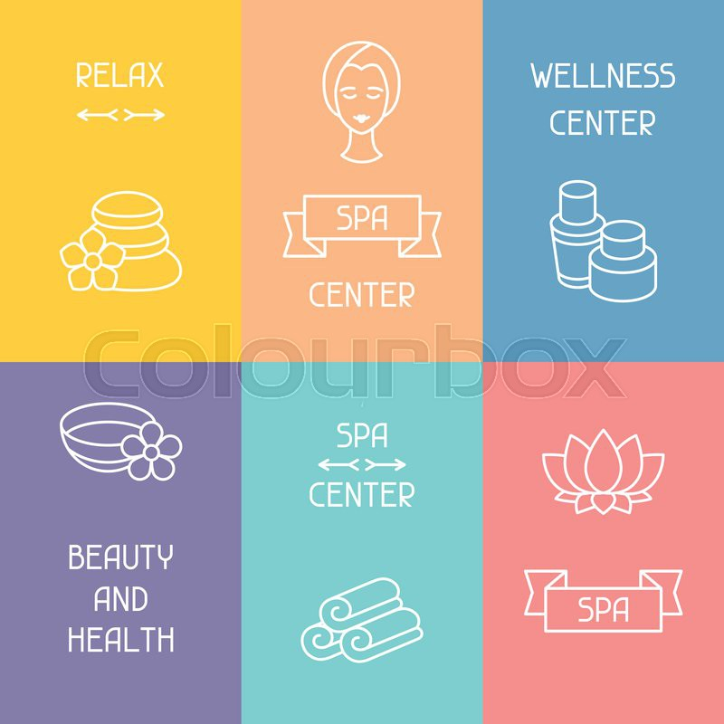 Spa and recreation business cards with icons in linear style, vector