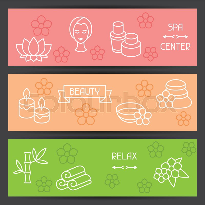 Spa and recreation banners with icons in linear style, vector