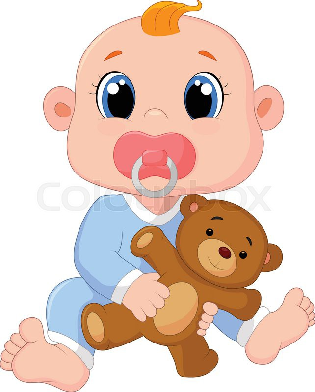 vector illustration of cartoon baby boy with pacifiers and toys rh colourbox com cartoon silicone pacifier cartoon pacifier png