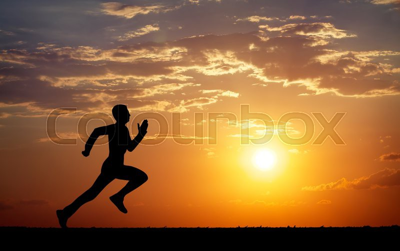 Silhouette of running man against the     | Stock image | Colourbox