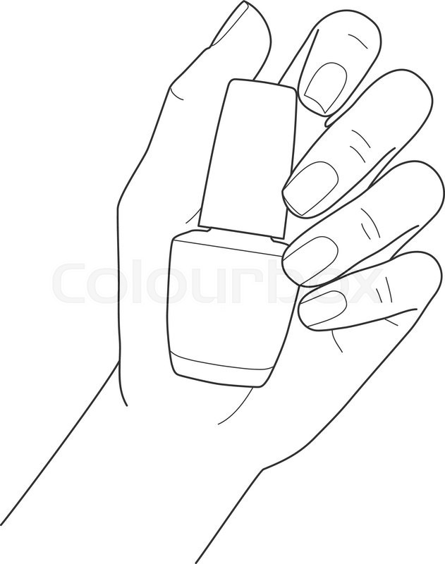 Drawing Lines On Nails : Female hand with manicure holding nail polish vector